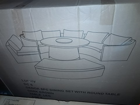 Lot 7318 LOT OF DARK BROWN GENOA 6PC DINING SET PARTS (BOXES 1/3/5 OF 5 ONLY)