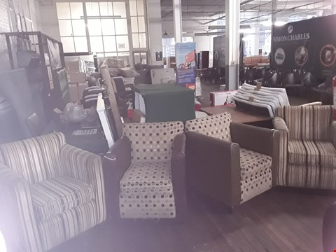 Lot 72 PAIR OF CIRCLE DESIGN FABRIC ARMCHAIR AND PAIR OF STRIPED DESIGN FABRIC ARMCHAIR