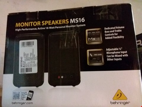 Lot 284 BEHRINGER MS16 PERSONAL MONITOR SYSTEM COMPACT STEREO SPEAKER SYSTEM