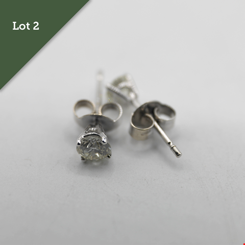 Lot 2 18CT WHITE GOLD STUD EARRINGS SET WITH DIAMONDS WEIGHING +0.65CT RRP £1500.00