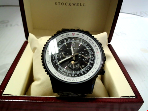 Lot 7172 DESIGNER STOCKWELL AUTOMATIC WATCH WITH MOONPHASE MOVEMENT AND SUB DIALS. GLASS BACK RRP £625.00