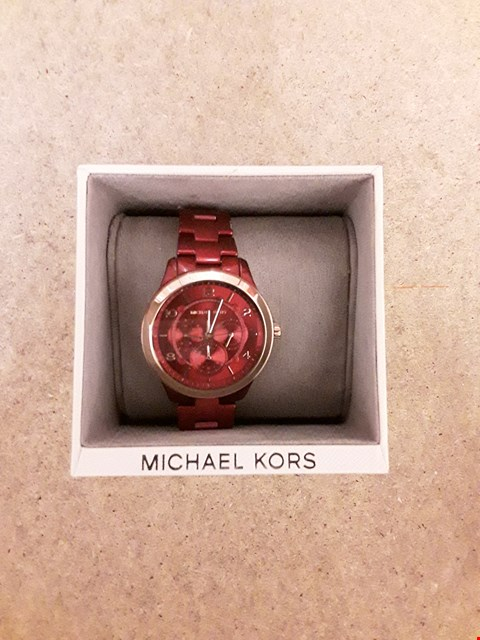 Lot 2240 MK6594 RUNWAY RED CHRONOGRAPH BRACELET LADIES WATCH RRP £239