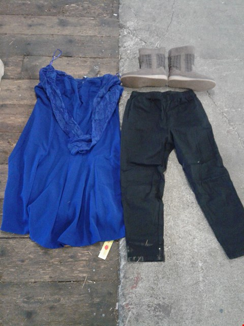 Lot 222 BOX OF APPROXIMATELY 16 CLOTHING AND SHOES TO INCLUDE BROWN BOOTS, BLUE ZIP UP DRESS AND BLACK TROUSERS - VARIOUS SIZES