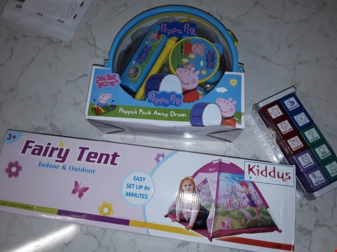 Lot 235 LOT OF 3 ASSORTED TOY ITEMS TO INCLUDE FAIRY TENT, PEPPA PIG AWAY DRUM SET AND STAMPS