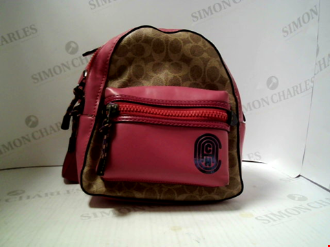 Lot 529 DESIGNER GRADE 1 COACH PINK LEATHER AND BROWN SMALL BACKPACK