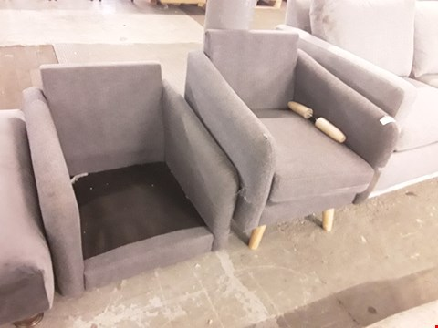 Lot 180 TWO GREY FABRIC ARMCHAIRS