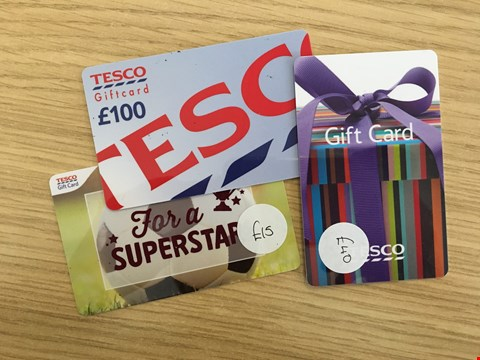 Lot 22 3 TESCO GIFT CARDS.  TOTAL VALUE £155