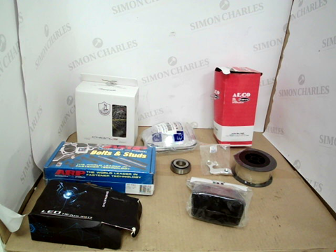 Lot 10778 BOX OF APPROXIMATELY 9 ASSORTED ITEMS TO INCLUDE SHENKENUO LED HEADLIGHTS, ARP BOLT & STUD SET, ALCO FILTER ETC