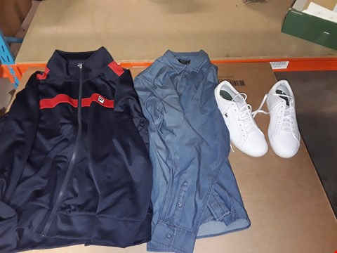 Lot 9412 4 BOXES OF APPROXIMATELY 57 ASSORTED CLOTHING AND FOOTWEAR ITEMS INCLUDING LACOSTE WHITE STRAIGHT SET SHOES, BLACK/RED RENZO TRACK TOP AND NAVY SHIRT