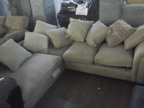 Lot 84 DESIGNER BEIGE FABRIC CHAISE SOFA WITH CUSHIONS