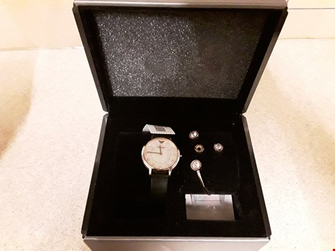 Lot 2232 BOXED EMPORIO ARMANI ROSE GOLD MATCHING LEATHER STRAP WATCH, EARRING AND BRACELET SET RRP £249