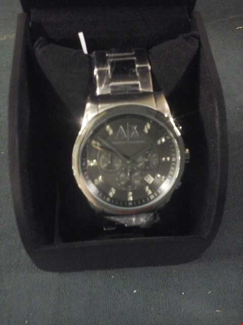 Lot 9 BOXED ARMANI EXCHANGE SWAROVSKI DIAL STAINLESS STEEL WRIST WATCH RRP £229