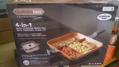 Lot 17 BOXED QUADRAPAN 4 IN 1 MULTI COOKING SMART PAN WITH GLASS LID