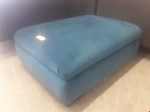 Lot 71 DESIGNER TEAL FABRIC RECTANGULAR FOOTSTOOL RRP £55.99