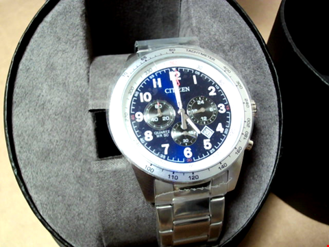 Lot 5505 CITIZEN BLUE DIAL CHRONOGRAPH SATINLESS STEEL STRAP WATCH RRP £259.00