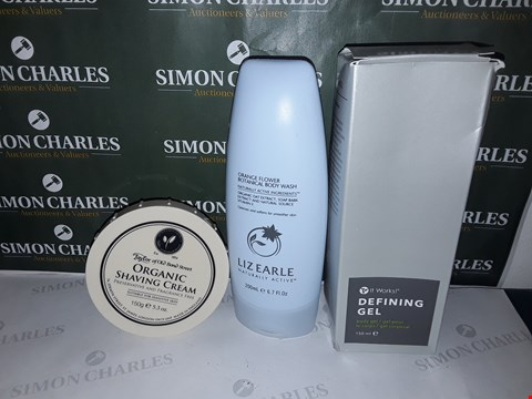 Lot 81 BOX OF ASSORTED COSMETIC ITEMS TO INCLUDE ORGANIC SHAVING CREAM, LIZ EARLE BODY WASH, IT WORKS! DEFINING GEL ETC