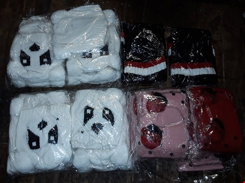 Lot 1100 BOX OF APPROXIMATELY 70 ASSORTED BRAND NEW HATS TO INCLUDE KNITTED PANDA HAT, LADYBIRD BEANIE IN RED & PINK