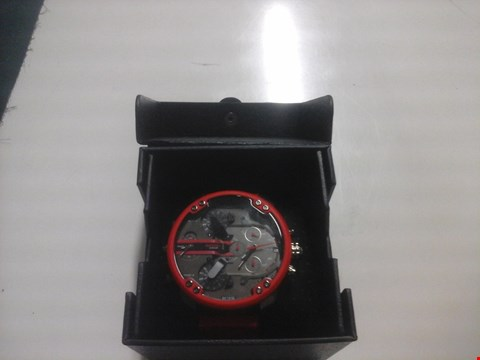 Lot 1525 BOXED DIESEL CHEIF BLACK / GUNMETAL DIAL WITH RED SURROUND WATCH  RRP £697