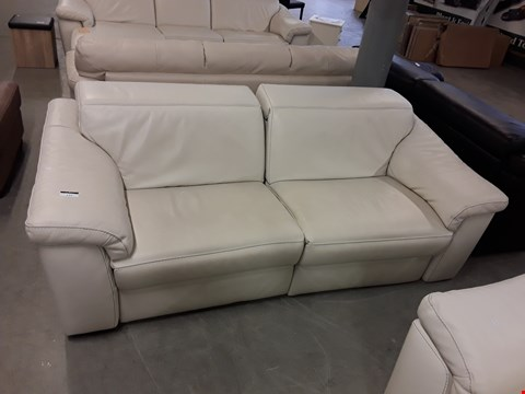 Lot 37 DESIGNER SENSOR QUALITY GRADED CREAM ITALIAN LEATHER RECLINING 3 SEATER SOFA WITH ADJUSTABLE HEADRESTS AND CONTRAST DETAIL STITCHING