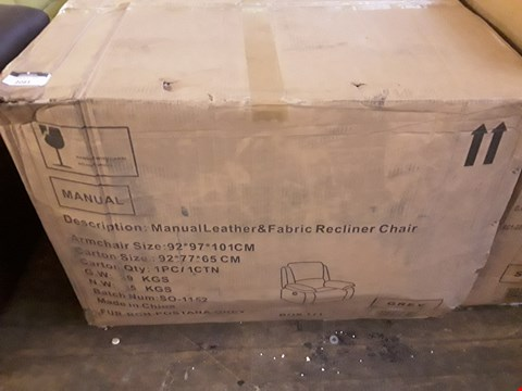 Lot 2081 DESIGNER BOXED POSTANA GREY FABRIC AND LEATHER RECLINING ARMCHAIR