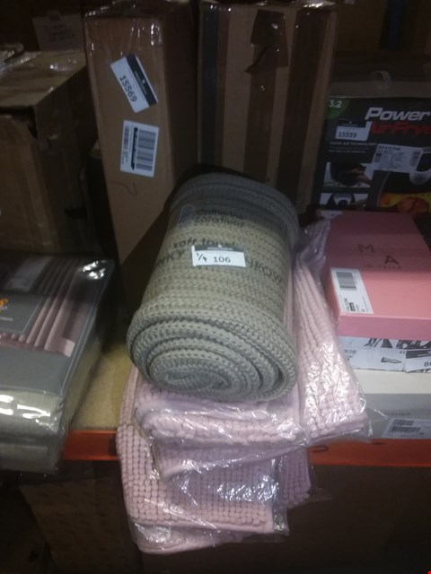 Lot 106 LOT OF 4 CATHERINE LANSFIELD ITEMS TO INCLUDE 3X ZERO TWIST BOBBLE BATH MAT AND SOFT TOUCH KNITTED THROW - NATURAL RRP £56.00