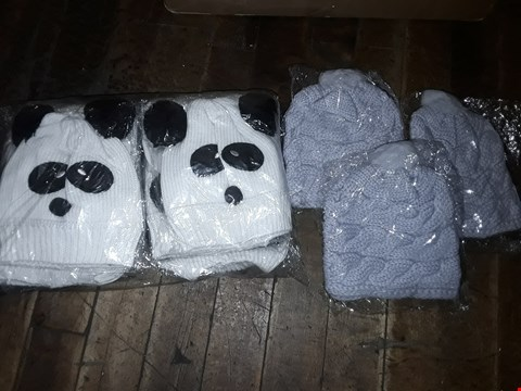 Lot 1075 BOX OF APPROXIMATELY 70 ASSORTED BRAND NEW HATS TO INCLUDE KNITTED PANDA HATS, KNITTED FAUX FUR POM POM HATS