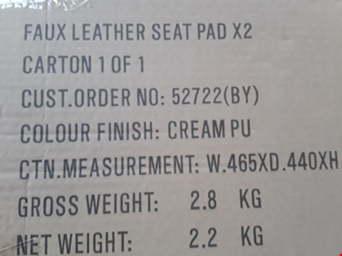 Lot 7047 BOXED PAIR OF CREAM FAUX LEATHER SEAT PADS