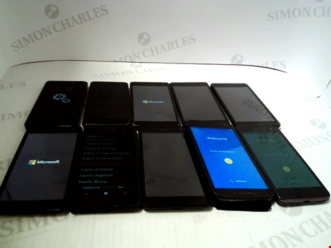 Lot 3380 LOT OF 10 ASSORTED SMARTPHONES; VARIOUS MAKES AND GRADES