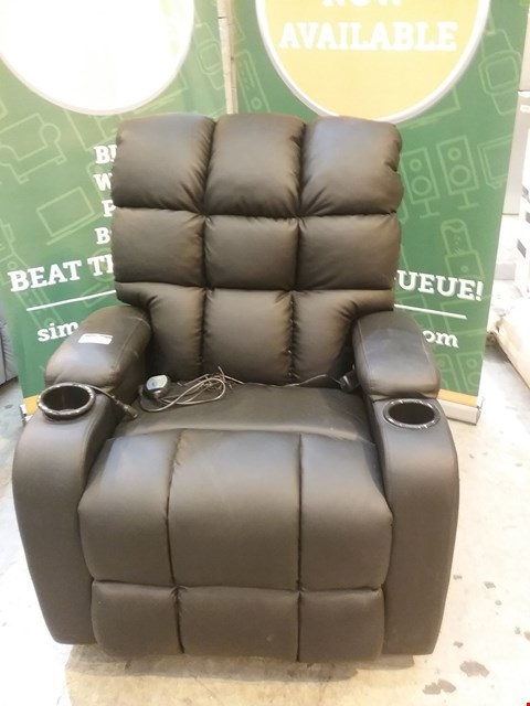 Lot 52 DESIGNER CHOCOLATE BROWN LEATHER RECLINING SWIVEL CHAIR