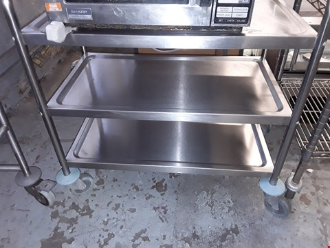 Lot 49 COMMERCIAL STAINLESS STEEL 3 TIERED WHEELED CATERING TROLLEY