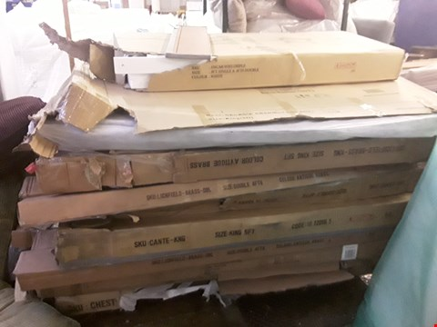 Lot 2118 PALLET OF ASSORTED FLAT PACK FURNITURE PARTS TO INCLUDE BED PARTS ETC