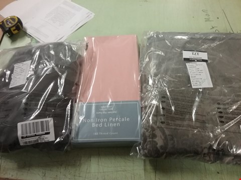 Lot 171 LOT OF 3 BEDDING ITEMS TO INCLUDE- VICTORIA CHERILLE CURTAINS- NON IRON PERCALEBED LINEN - FILTER SHEET KING SIZE  RRP £45