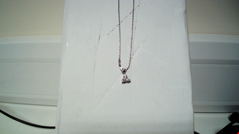 Lot 29 18CT WHITE GOLD TREFOIL PENDANT ON CHAIN, SET WITH DIAMONDS RRP £2850.00