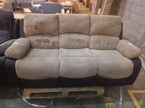 Lot 566 DESIGNER BROWN FAUX LEATHER AND BEIGE JUMBO CORD RECLINING 3 SEATER SOFA