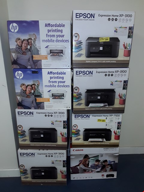 Lot 15081 LOT OF APPROXIMATELY 9 ASSORTED PRINTERS TO INCLUDE EPSON, CANON, HP
