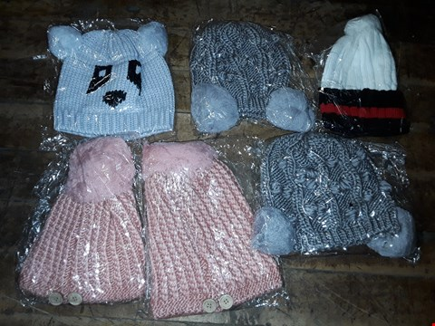Lot 1081 BOX OF APPROXIMATELY 70 ASSORTED BRAND NEW HATS TO INCLUDE GREY KNITTED PANDA HAT, GREY KNITTED HAT WITH POMPOMS