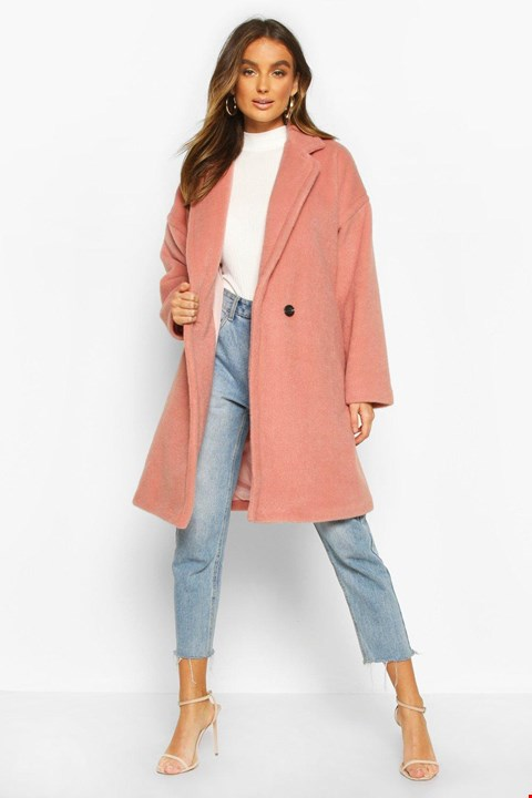 Lot 7338 BRAND NEW BOOHOO LUXE BRUSHED WOOL LOOK DUSKY PINK COAT - SIZE 10 UK