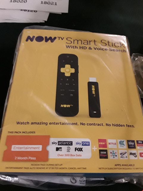 Lot 18018 NOW TV SMART STICK WITH HD AND VOICE SEARCH RRP £25.00