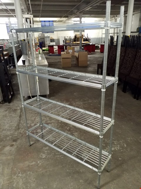 Lot 77 STAINLESS STEEL 4 SHELF STORAGE UNIT - MEASURES APPROXIMATELY 115X70X29CM
