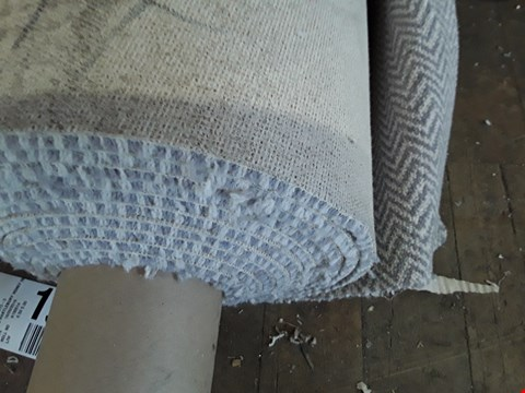 Lot 74 ROLL OF GREY HERRINGBONE PATTERNED CARPET APPROXIMATELY 5M × SIZE UNSPECIFIED