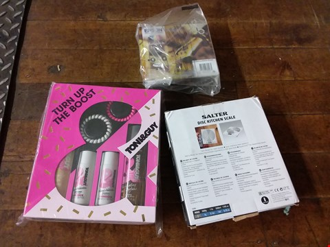 Lot 2569 LOT OF 3 GRADE 1 ITEMS TO INCLUDE EPSON CARTRIDGE SET, SALTER KITCHEN SCALE, TONI & GUY HAIR ACCESSORY SET RRP £59