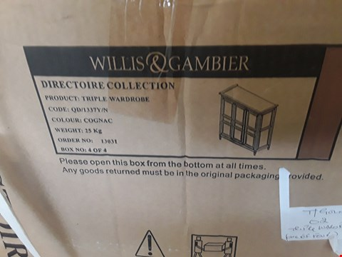 Lot 402 BOXED WILLIS & GAMBIER TRIPLE WARDROBE ( BOX 4 OF 4 ONLY )