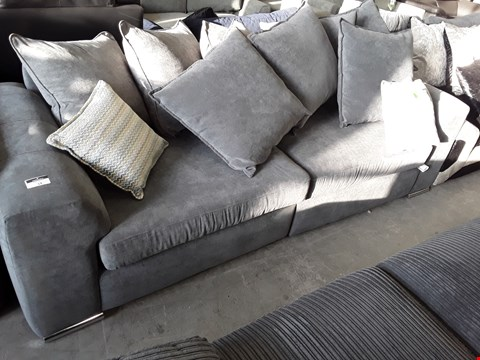 Lot 19 DESIGNER GREY FABRIC FOUR SEATER SOFA WITH SCATTER CUSHIONS