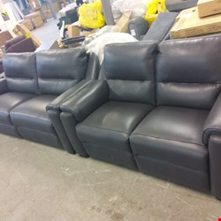 Lot 2070 QUALITY ITALIAN MADE GREY LEATHER UPHOLSTERED THREE SEATER POWER RECLINING SOFA AND TWO SEATER POWER RECLINING SOFA
