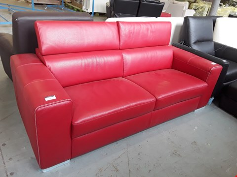 Lot 51 BRAND NEW QUALITY ITALIAN DESIGNER RED LEATHER 3 SEATER SOFA WITH ADJUSTABLE HEADRESTS