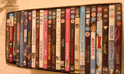 Lot 15694 A BOX OF ASSORTED DVDS TO INCLUDE A HALLOWEEN UNCUT DVD AND A HIGH SOCIETY DVD