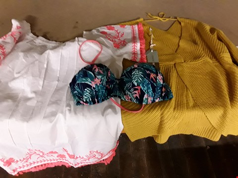 Lot 66 BOX OF APPROXIMATELY 9 ASSORTED CLOTHING ITEMS TO INCLUDE TWIST BACK MUSTARD JUMPER, WILD BLOSSOM BIKINI TOP, BEACH COVER UP LACE DRESS