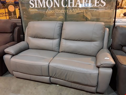 Lot 9044 DESIGNER GREY LEATHER POWER RECLINING THREE SEATER SOFA WITH CONTRAST STITCHING