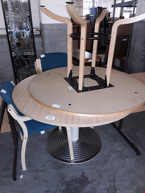Lot 783 LOT OF 5 ASSORTED OFFICE FURNITURE ITEMS INCLUDES 2 CIRCULAR TABLES AND 3 BLUE CUSHIONED CHAIRS
