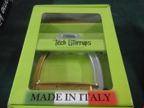 Lot 1066 BOXED TECH STIRRUPS VENICE SILVER/GOLD  RRP £173
